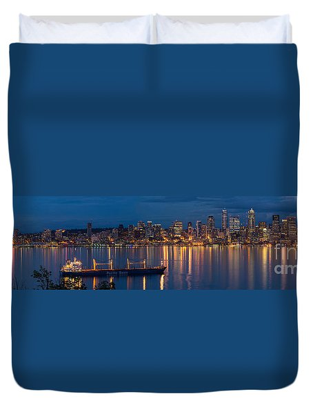 Elliott Bay Seattle Skyline Night Reflections  Duvet Cover by Mike Reid