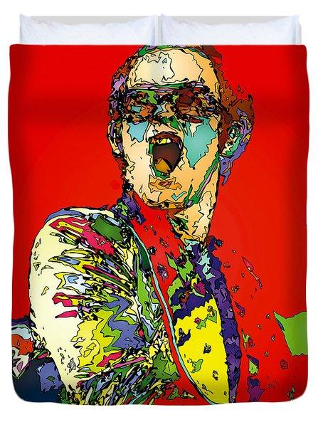 Elton In Red Duvet Cover by John Farr