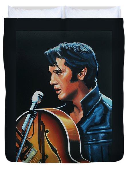 Elvis Presley 3 Painting Duvet Cover by Paul Meijering