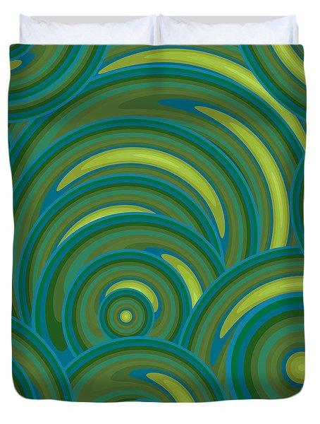 Emerald Green Abstract Duvet Cover by Frank Tschakert