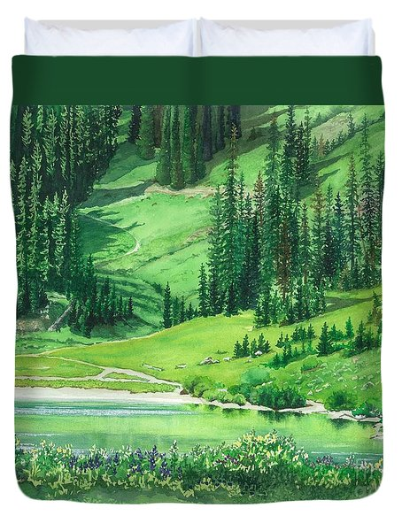 Emerald Lake Duvet Cover by Barbara Jewell