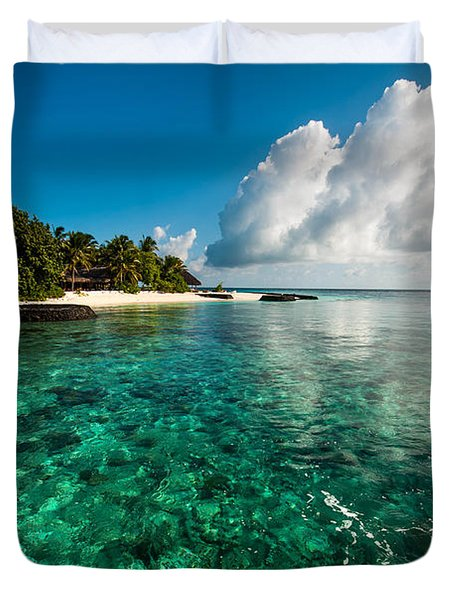 Emerald Purity. Kuramathi Resort. Maldives Duvet Cover by Jenny Rainbow