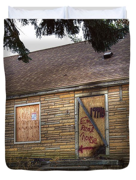 Eminem's Childhood Home Taken On November 11 2013 Duvet Cover by Nicholas  Grunas
