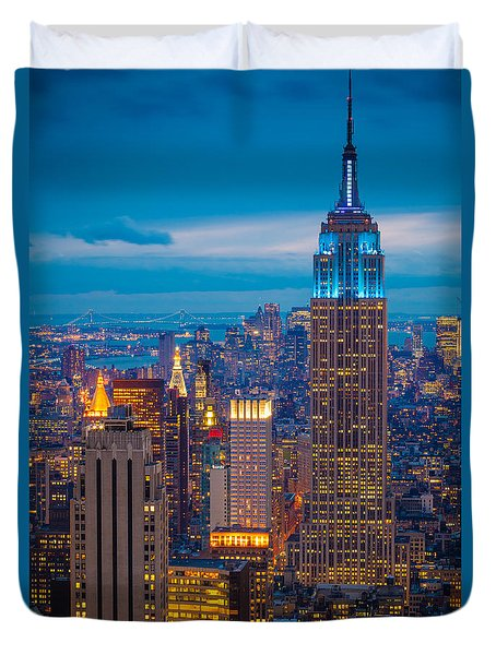 Empire State Blue Night Duvet Cover by Inge Johnsson