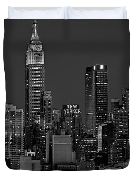 Empire State Building In Christmas Lights Bw Duvet Cover by Susan Candelario