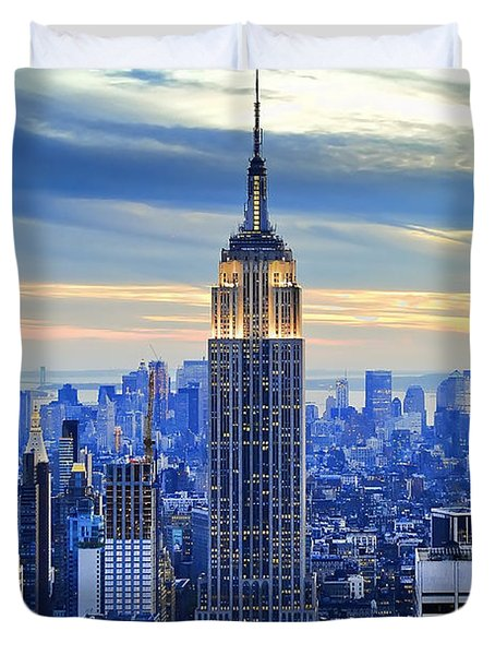 Empire State Building New York City Usa Duvet Cover by Sabine Jacobs