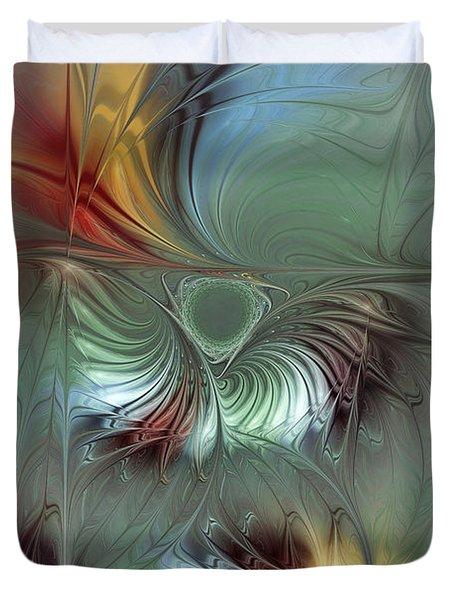 Enchanting Flower Bloom-abstract Fractal Art Duvet Cover by Karin Kuhlmann