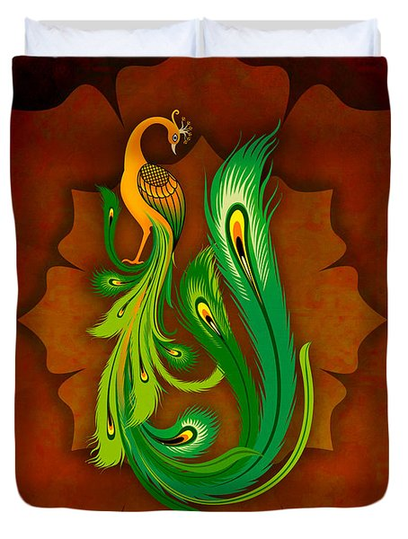 Enchanting Peacock 1 Duvet Cover by Bedros Awak