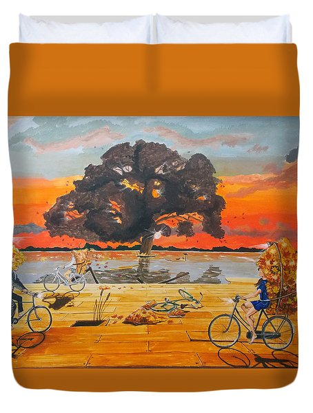 End of season habits listen with music of the description box Duvet Cover by Lazaro Hurtado