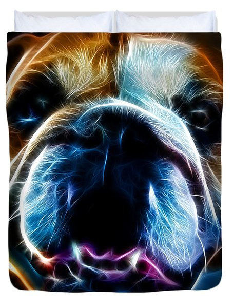 English Bulldog - Electric Duvet Cover by Wingsdomain Art and Photography