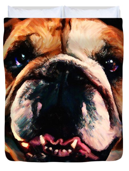 English Bulldog - Painterly Duvet Cover by Wingsdomain Art and Photography