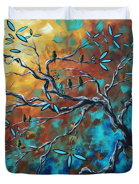 Enormous Abstract Bird Art Original Painting WHERE THE HEART IS by MADART Duvet Cover by Megan Duncanson