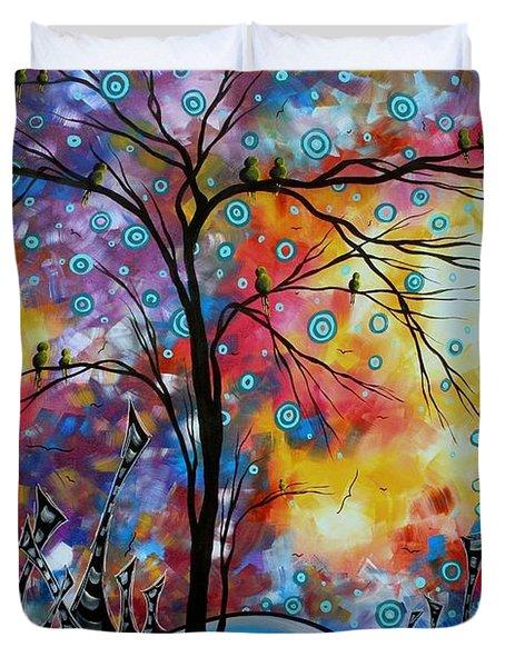 Enormous Whimsical Cityscape Tree Bird Painting Original Landscape Art Worlds Away By Madart Duvet Cover by Megan Duncanson