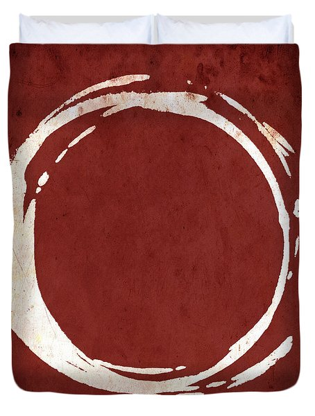 Enso No. 107 Red Duvet Cover by Julie Niemela