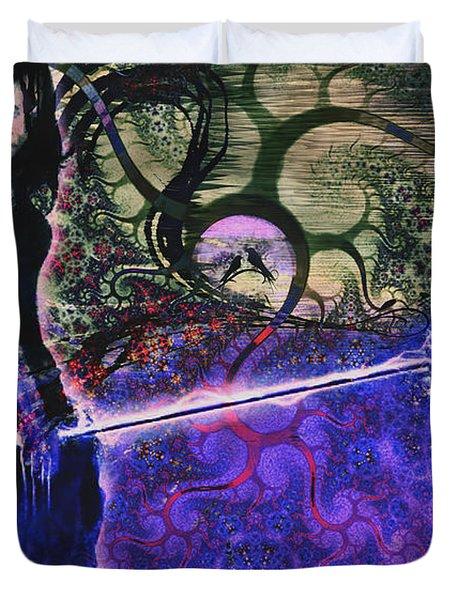 Entering In The Spirit Of The Night Duvet Cover by Linda Sannuti