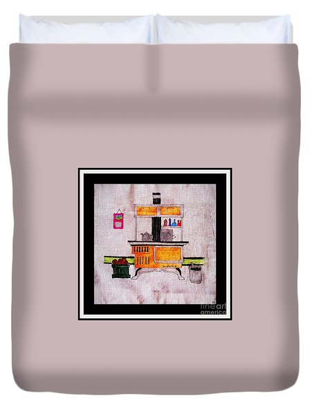 Enterprise Woodstove - Yellow Duvet Cover by Barbara Griffin