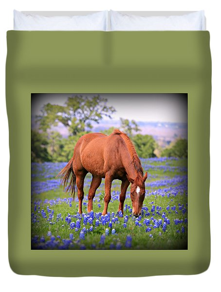 Equine Bluebonnets Duvet Cover by Stephen Stookey