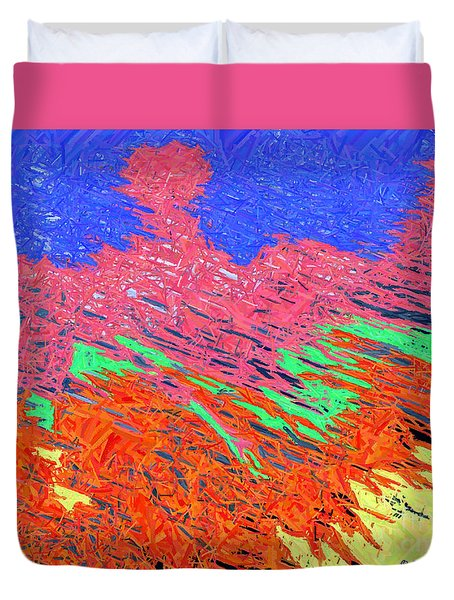 Erupting Lava Meets The Sea Duvet Cover by Joseph Baril
