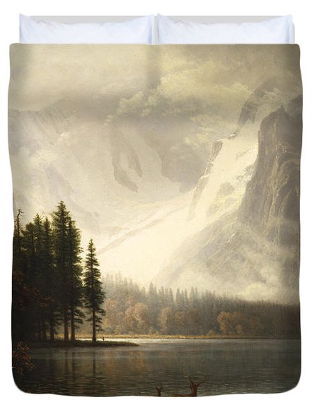 Estes Park Colorado Whytes Lake Duvet Cover by Albert Bierstadt