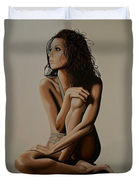 Eva Longoria Painting Duvet Cover by Paul Meijering