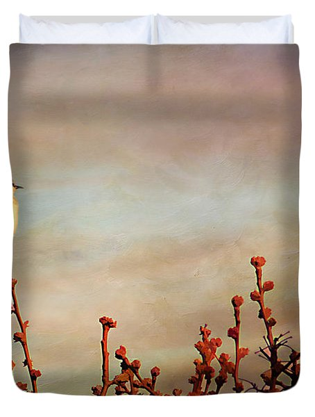Evening Mocking Bird Duvet Cover by Darren Fisher