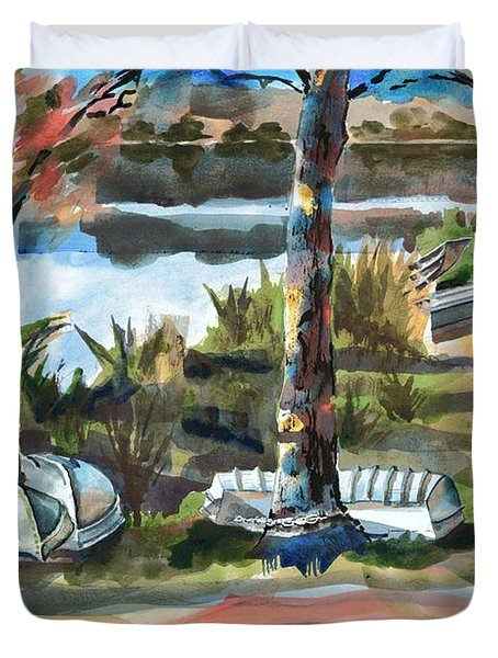 Evening Shadows at Shepherd Mountain Lake  No W101 Duvet Cover by Kip DeVore