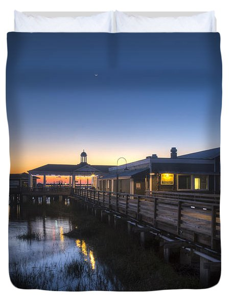 Evening Sky At The Dock Duvet Cover by Debra and Dave Vanderlaan