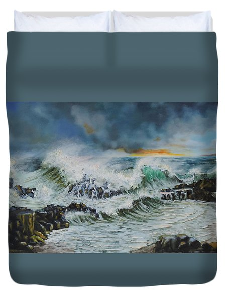 Evening Surf At Castlerock Duvet Cover by Barry Williamson