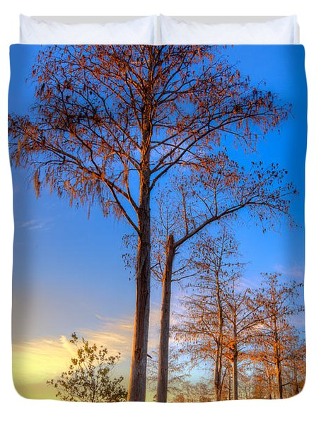 Everglades At Sunset Duvet Cover by Debra and Dave Vanderlaan