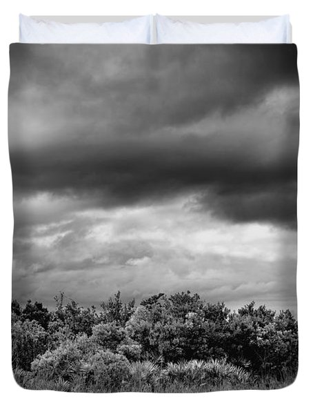 Everglades Storm Bw Duvet Cover by Rudy Umans