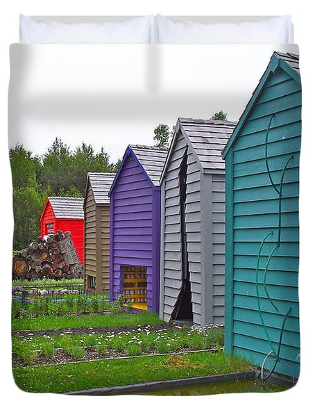 Every Garden Needs A Shed And Lawn Two In Les Jardins De Metis/reford Gardens Near Grand Metis-qc Duvet Cover by Ruth Hager