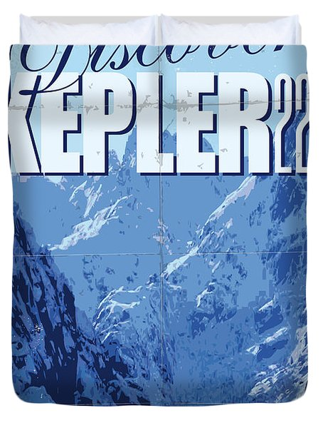 Exoplanet 02 Travel Poster Kepler 22b Duvet Cover by Chungkong Art