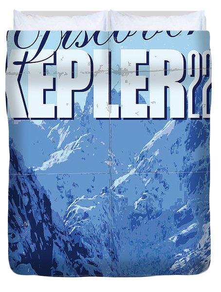 Exoplanet 02 Travel Poster KEPLER 22b Duvet Cover by Chungkong Art
