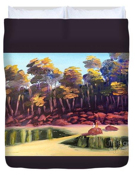 Exploring On Echo Beach Duvet Cover by Pamela  Meredith