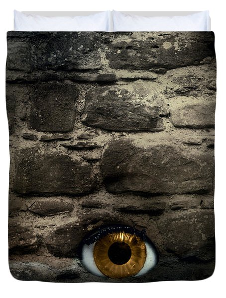 Eye In Brick Wall Duvet Cover by Amanda And Christopher Elwell
