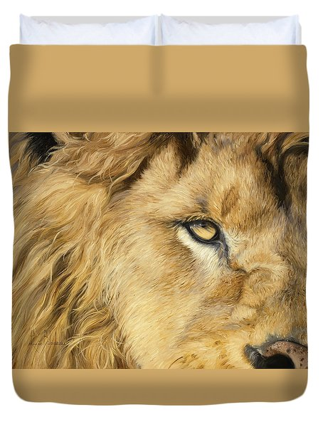 Eye Of The Lion Duvet Cover by Lucie Bilodeau