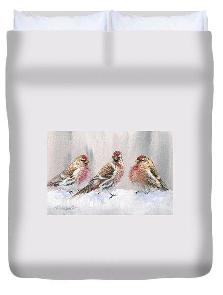 Snowy Birds - Eyeing The Feeder 2 Alaskan Redpolls In Winter Scene Duvet Cover by Karen Whitworth