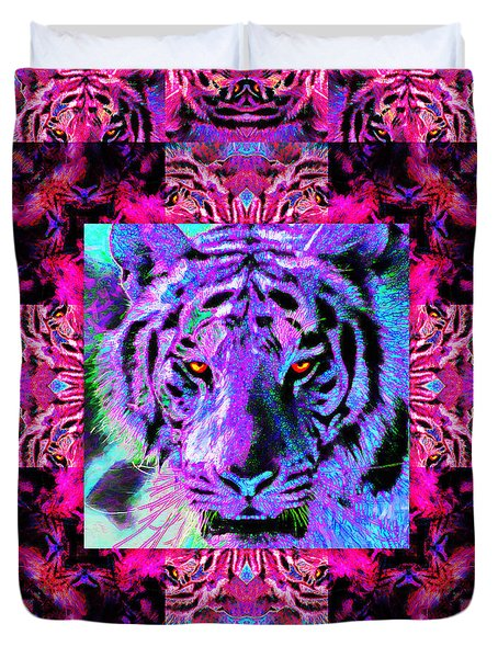 Eyes of The Bengal Tiger Abstract Window 20130205p0 Duvet Cover by Wingsdomain Art and Photography