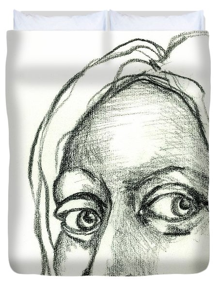 Eyes - The Sketchbook Series Duvet Cover by Michelle Calkins