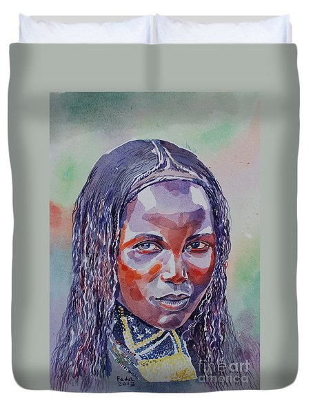 Face From Sudan  1 Duvet Cover by Mohamed Fadul