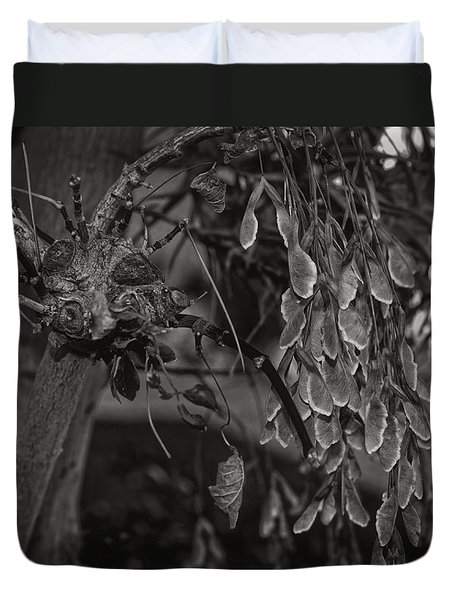 Face In The Maple Tree 2 Duvet Cover by Leana De Villiers