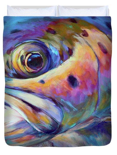 Face of A Rainbow- Rainbow Trout Portrait Duvet Cover by Savlen Art