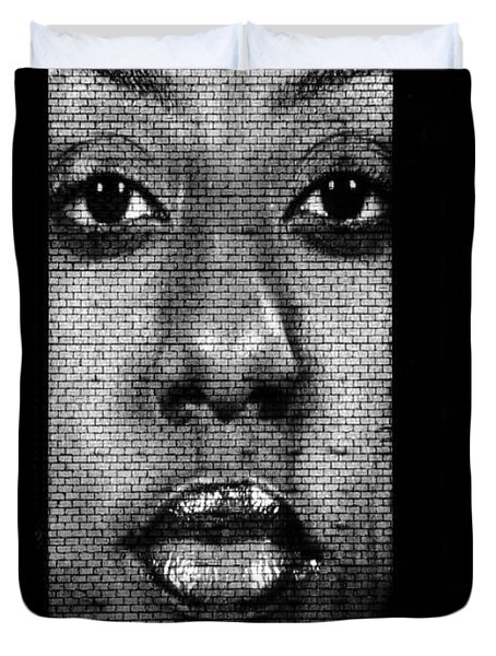 Face to Face - Crown Fountain Chicago Duvet Cover by Christine Till