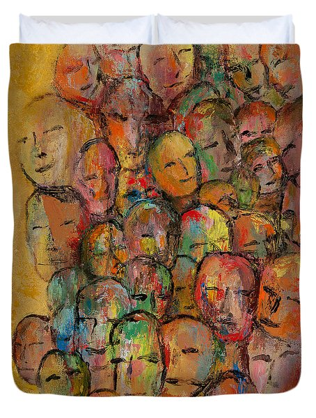 Faces In The Crowd Duvet Cover by Larry Martin