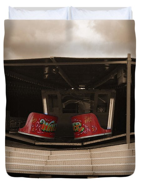 Fairground Waltzer In Sepia Duvet Cover by Terri Waters