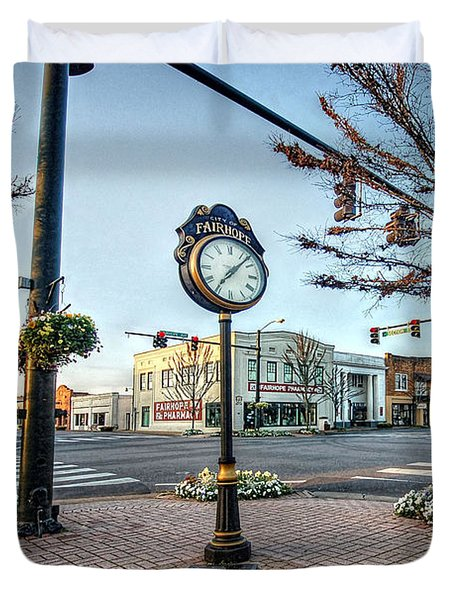 Fairhope Clock And 4 Corners Duvet Cover by Michael Thomas