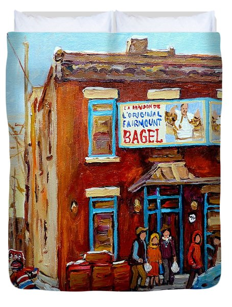 FAIRMOUNT BAGEL IN WINTER MONTREAL CITY SCENE Duvet Cover by CAROLE SPANDAU