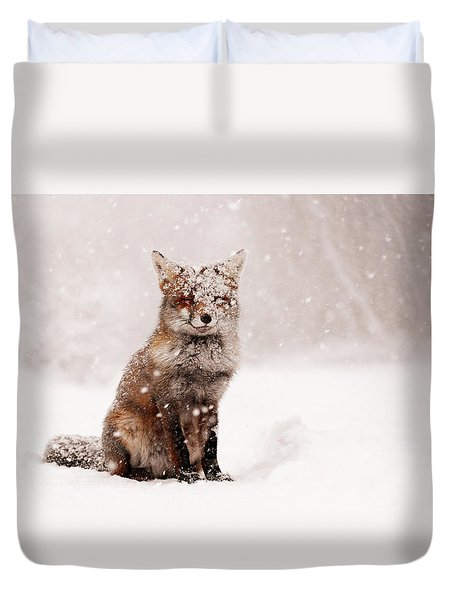 Fairytale Fox _ Red Fox In A Snow Storm Duvet Cover by Roeselien Raimond