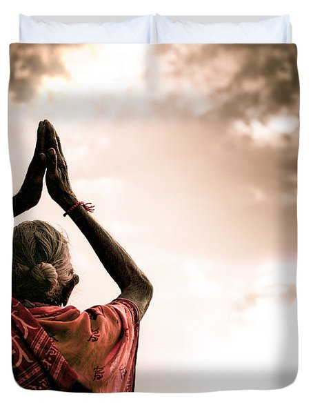 Faith And Prayers For Peace Duvet Cover by Nila Newsom