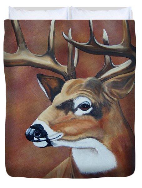 Fall Buck Duvet Cover by Debbie LaFrance